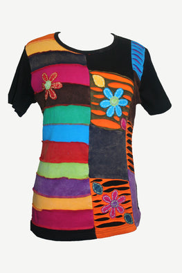 Rib Cotton Patch Flower Embroidered Tie Dye T-Shirt Blouse Top - Agan Traders, Black