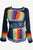 Hand Brush Painted Rainbow Funky Gypsy Knit Cotton Top Blouse ~ Nepal - Agan Traders, Multicolor
