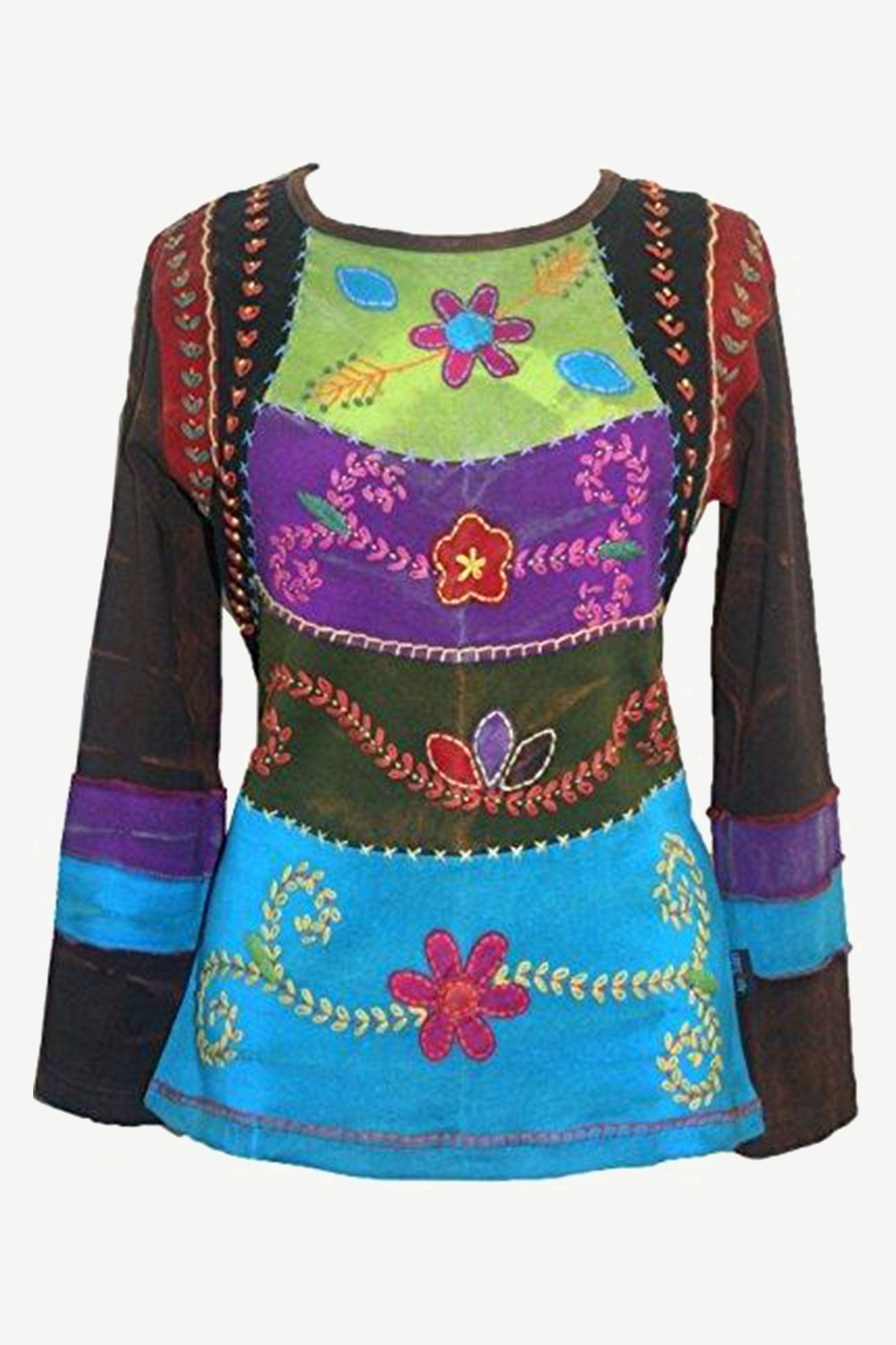 Rib Cotton Tie Dye Embroidered Floral Bohemian Gypsy Top Blouse - Agan Traders, Purple