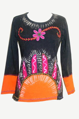 Rib Cotton Funky Embroidered Sun Bohemian Gypsy Top Blouse - Agan Traders, Plum Black