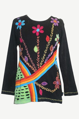 Knit Cotton Rainbow Razor Cut Flower Boho Gypsy Top Blouse - Agan Traders, Multicolor