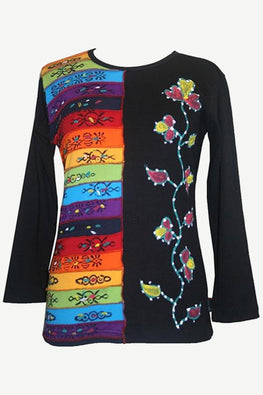 Rib Knit Cotton Rainbow Hand Brushed Flower Boho Gypsy Top Blouse - Agan Traders, Rainbow Multi