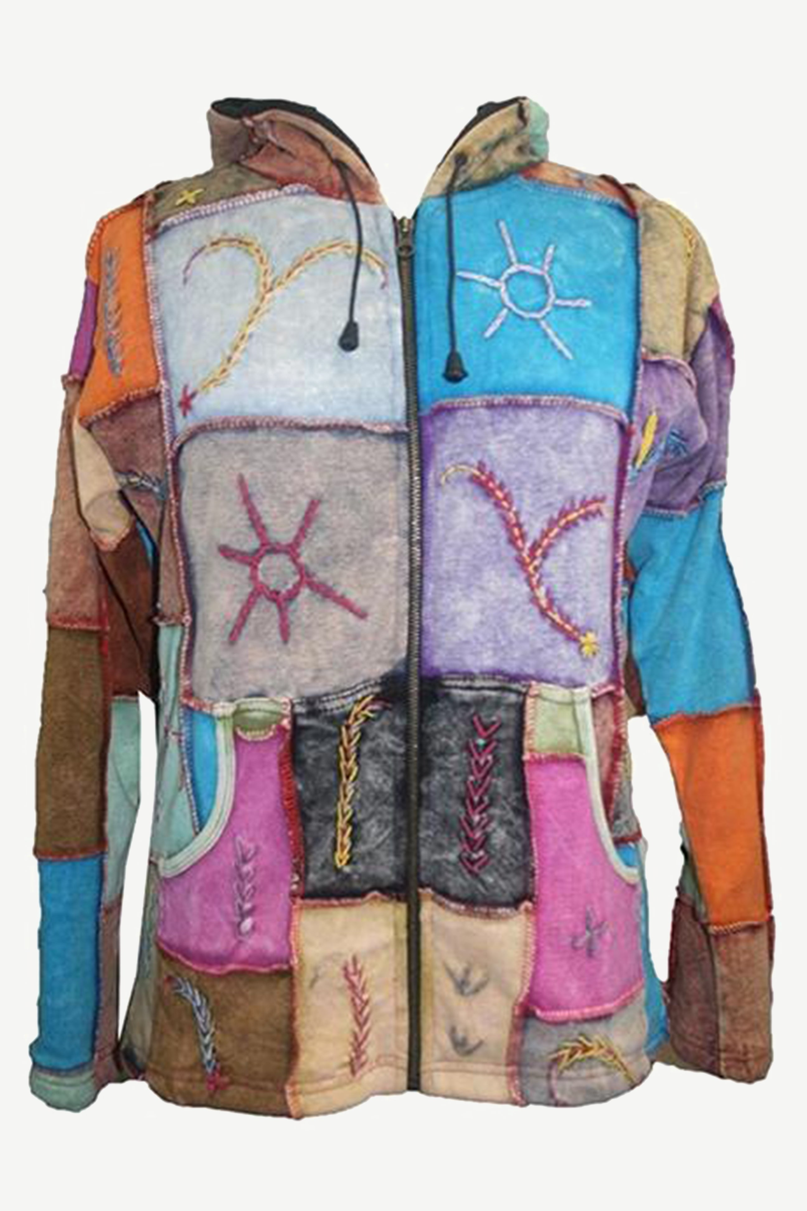 R 303 Agan Traders Rib Cotton Patched Fleece Bohemian Jacket - Agan Traders, Multi