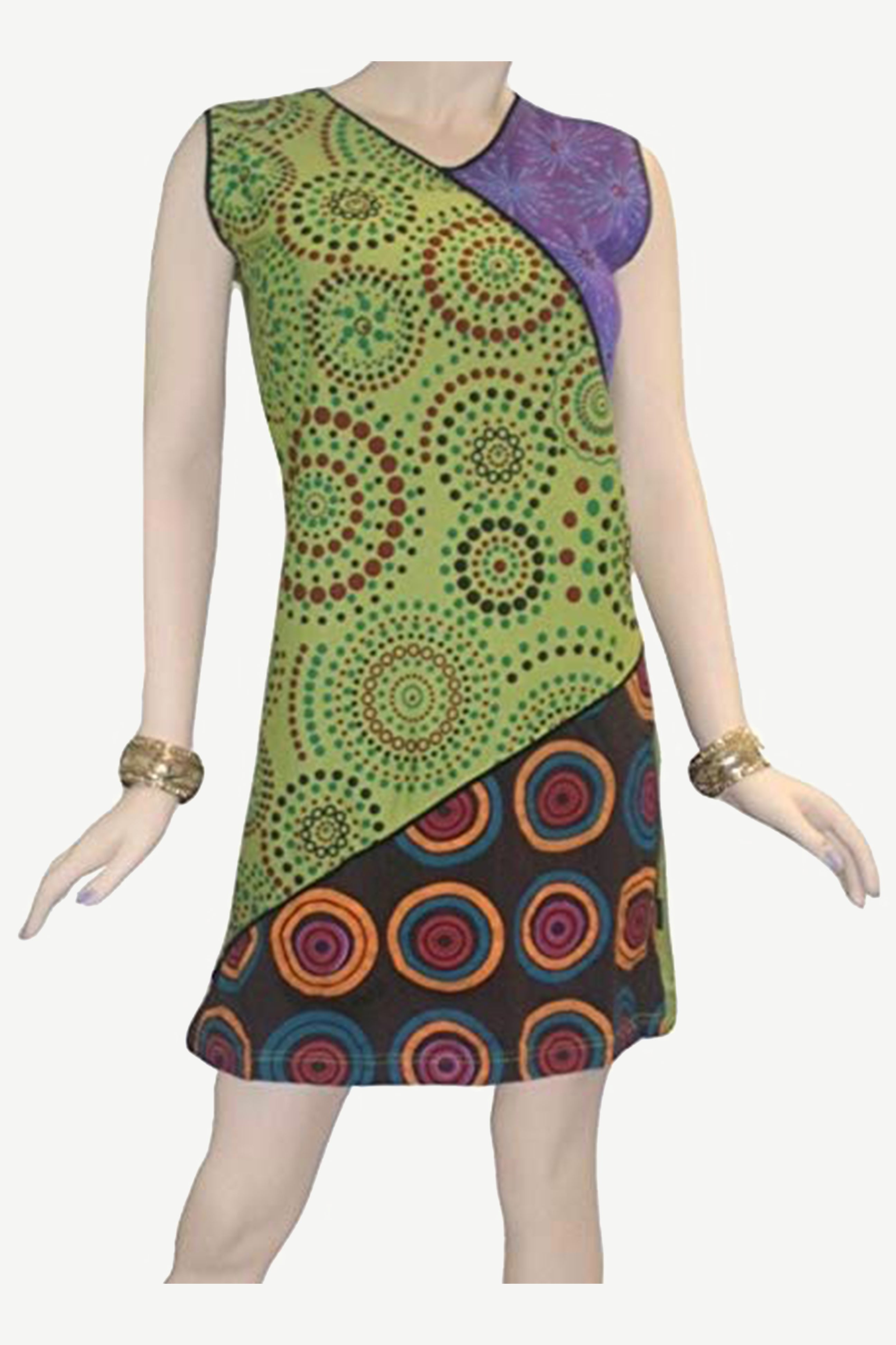 RD 12 Agan Traders Nepal Bohemian Gypsy Knit Cotton Knee Length Summer Dress - Agan Traders, Lime Green