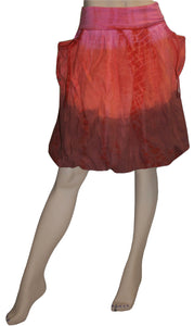 60 Skt Cotton Tie Dye or Solid Balloon Front Pocket Bubble Skirt - Agan Traders, Red Multi