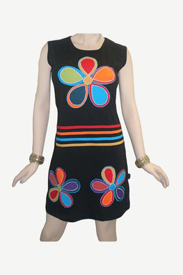 RD 10 Agan Traders Nepal Bohemian Knit Light Weight Cotton Mid Length Summer Dress - Agan Traders, RDR Multi 10