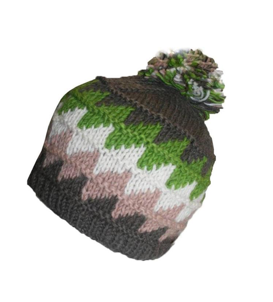 1415 H Two Tone 100% Himalayan Sheep Wool Knit Crochet Chaal Hat [Small & Medium]