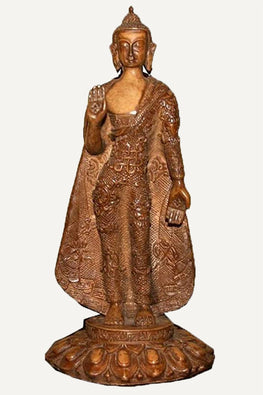 Resin Tall Standing Buddha Statue Fair Trade [7.0 X 12.0 inches; 2.5 lb]