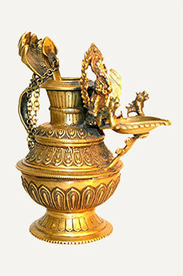 Handcrafted Brass Sukunda Oil Lamp ~ Made in Nepal