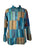 Cotton Patchwork Mandarin Style Light Weight Tunic Shirt Nepal - Agan Traders, Turquoise Multi