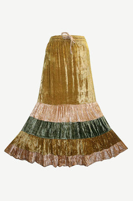 Gypsy Renaissance Vintage Rayon Velvet Broom Skirt - Agan Traders, Yellow