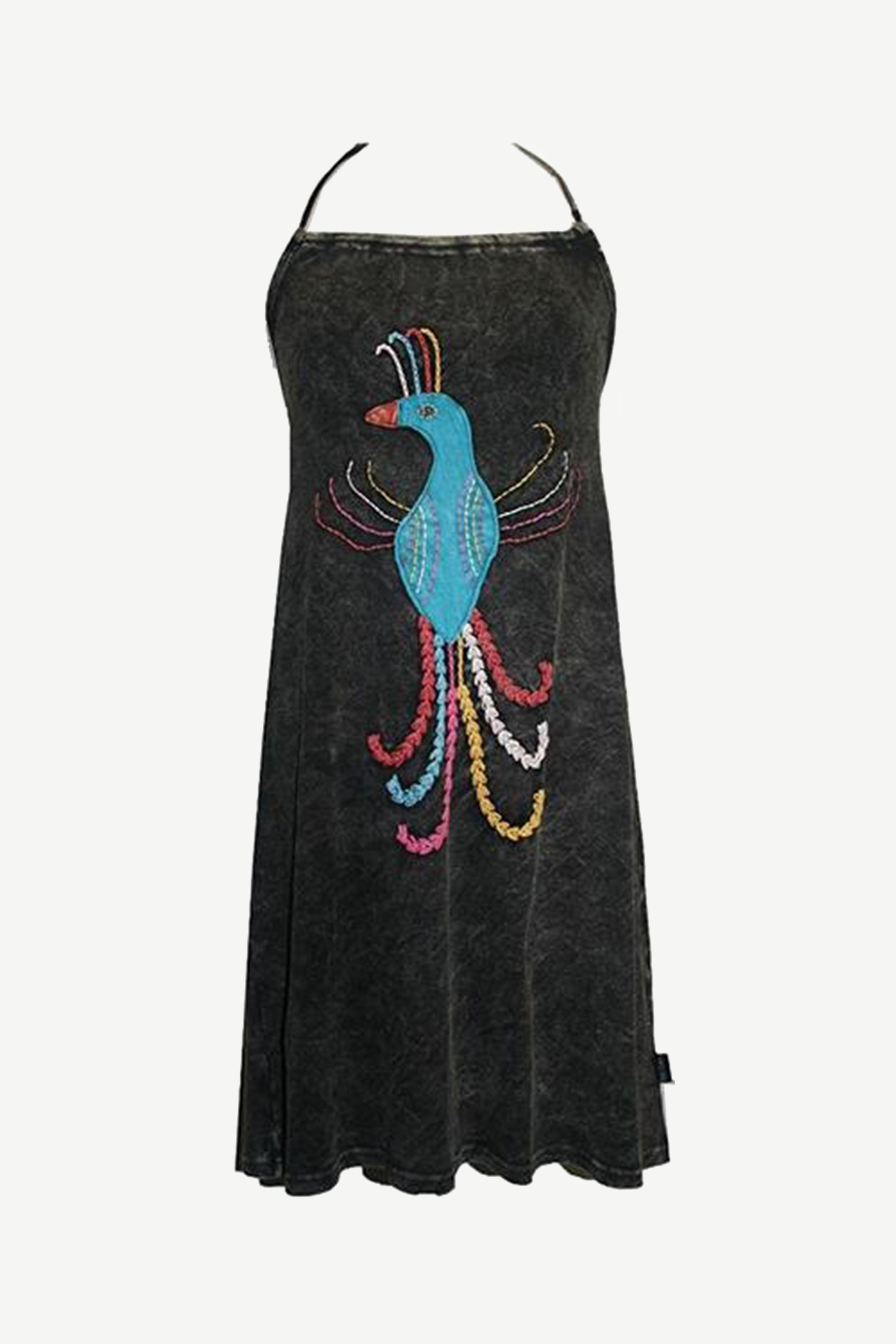 WDR 0083 Agan Traders Nepal Rib Cotton Patched Peacock Halter Summer Dress - Agan Traders, Black