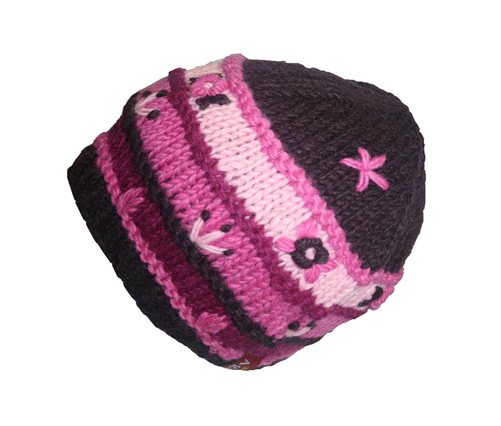 Knit Multi-colored Stripe Crochet Hat OR Mitten OR Folding Mitten Nepal - Agan Traders,  Hat Magenta