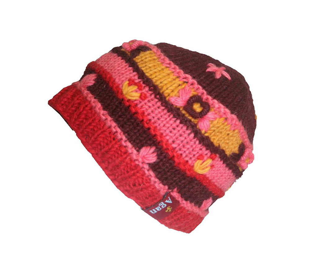 Knit Multi-colored Stripe Crochet Hat OR Mitten OR Folding Mitten Nepal - Agan Traders,  Hat Red