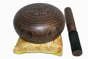 4300 Series Antique Tibetan Auspicious Symbol Bowl Set - Agan Traders, SB 4384 D