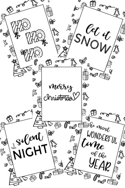 Christmas Coloring Pages - set of 5