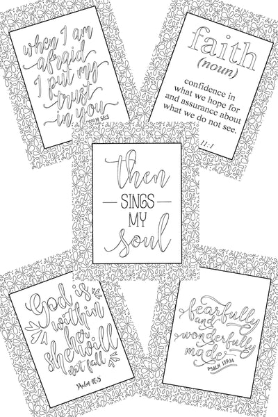 Inspirational Coloring Pages - Set of 5
