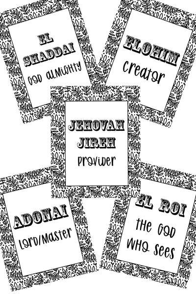 Names of God in Hebrew Coloring Pages - Set of 5
