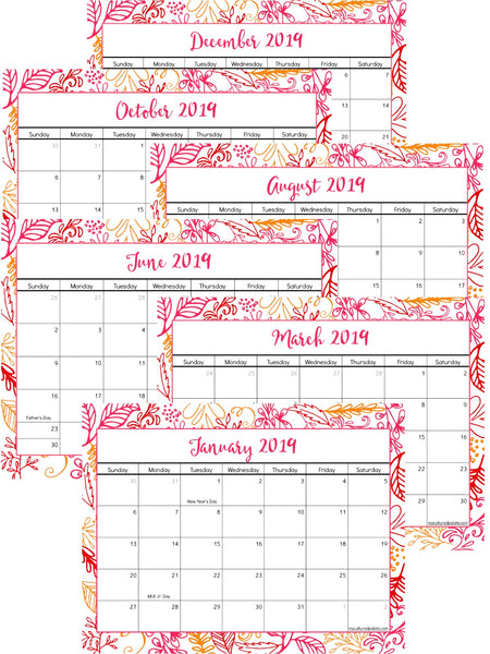 Calendar June 2020.2019 Printable Calendar Jan 2019 June 2020