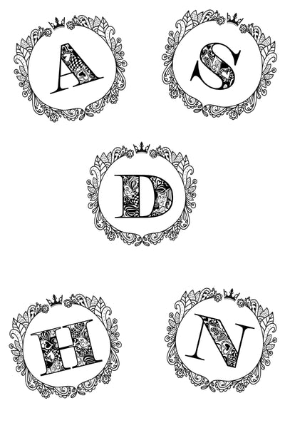 Royal Monogram Printable Coloring Sheets