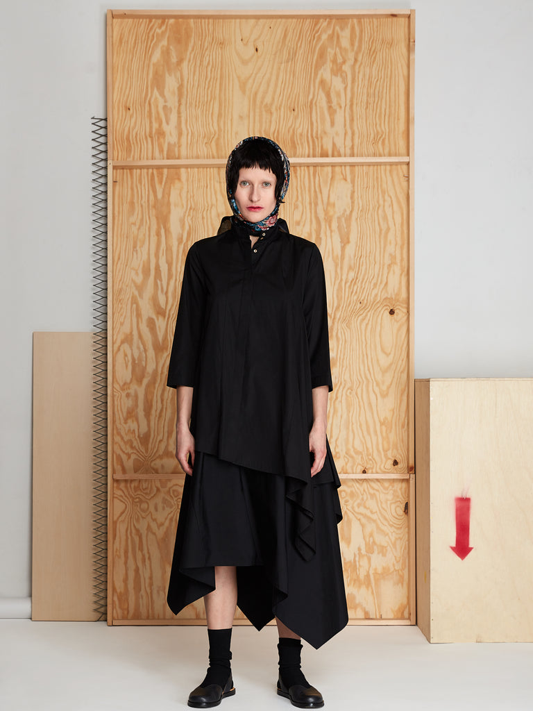 Draped Tunic in Poplin (Black)