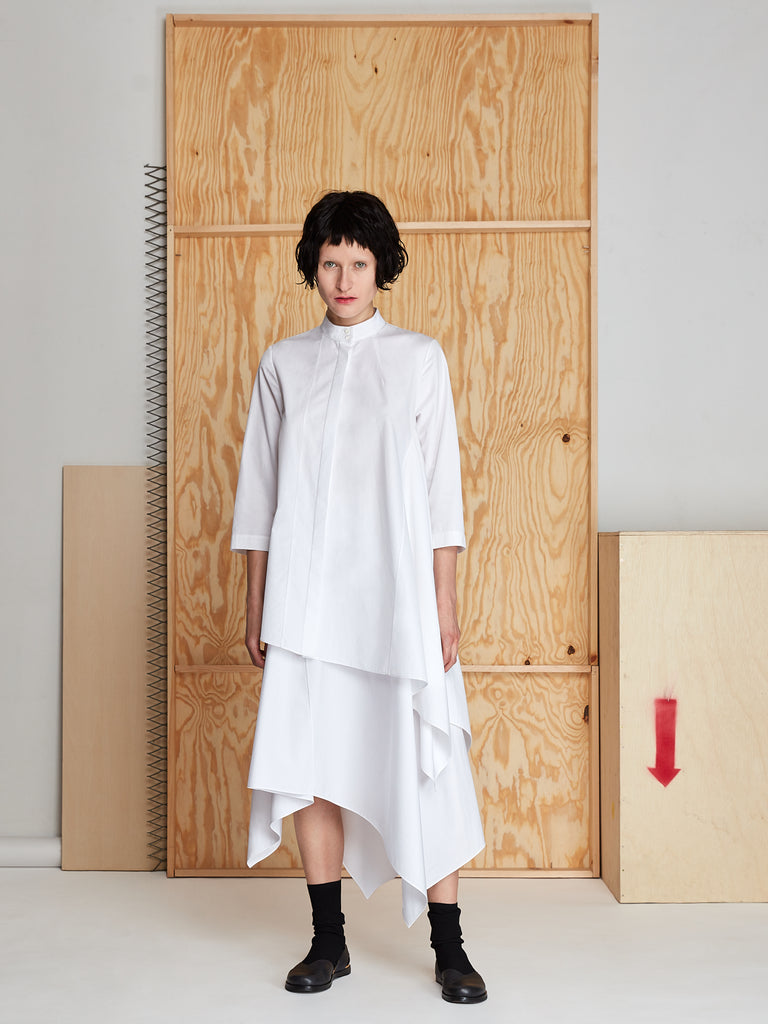 Draped Tunic in Poplin (White)