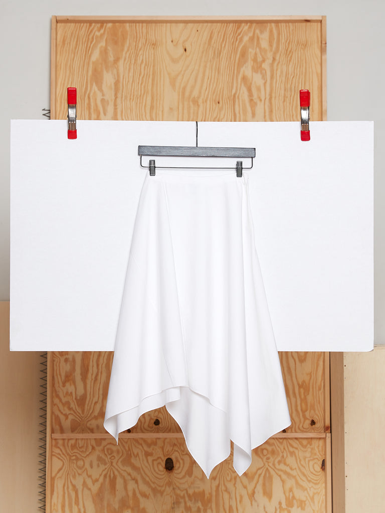 Draped Skirt in Poplin (White)