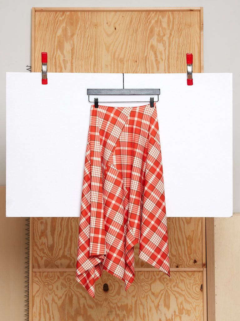 Draped Skirt in Wool Plaid (Firebird Red)