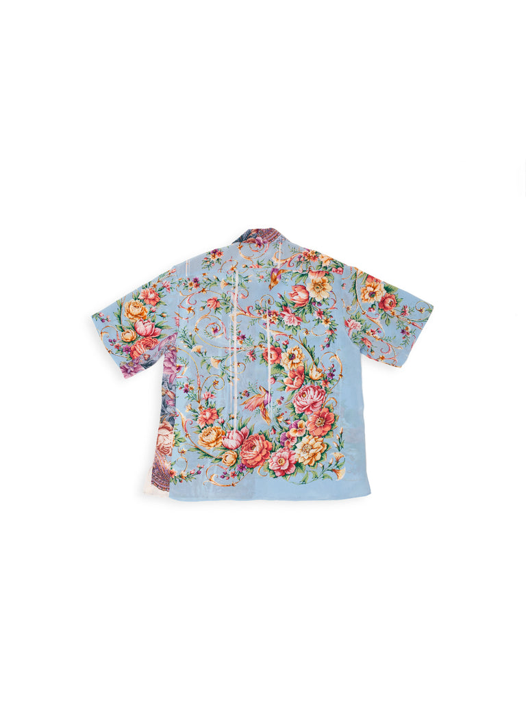 Short Sleeve Shirt in Reclaimed Silk - Light Blue
