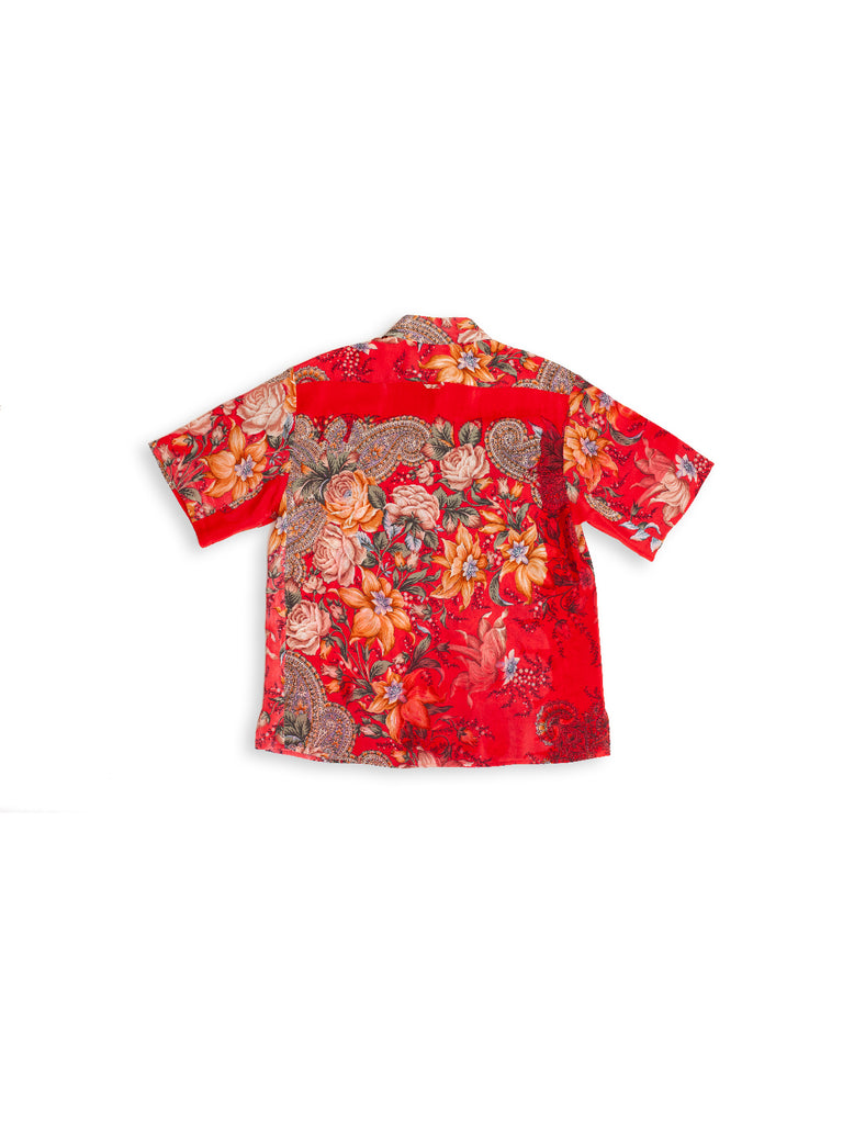 Short Sleeve Shirt in Reclaimed Silk - Red