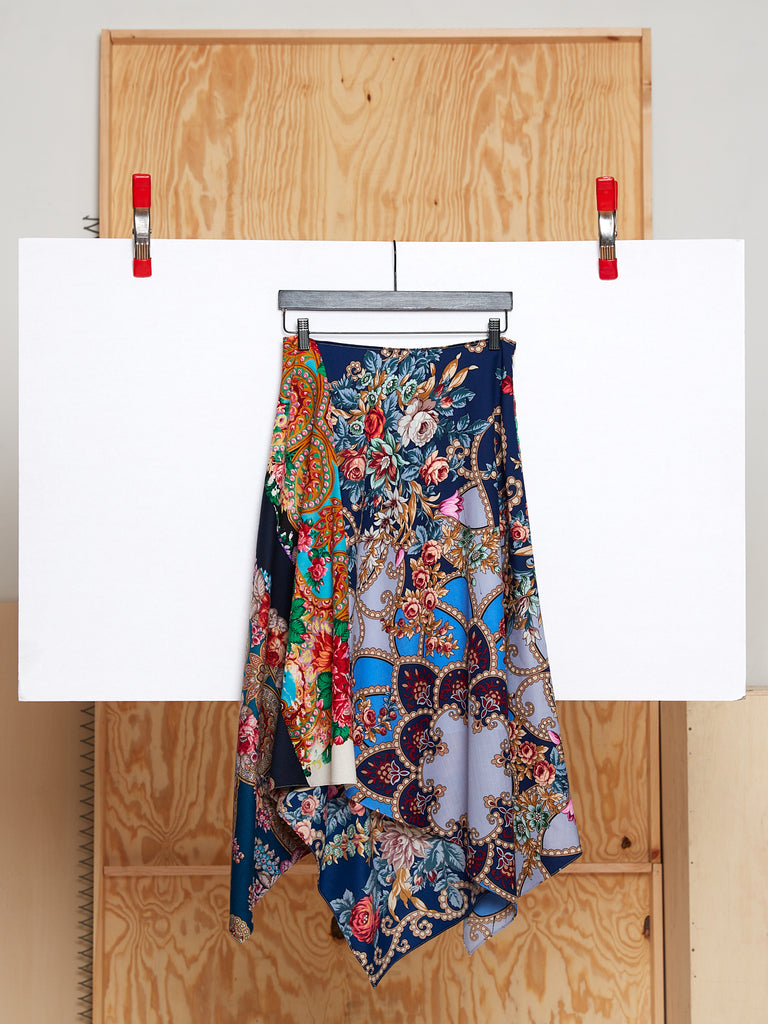 Draped Skirt in Reclaimed Shawl (Size L)