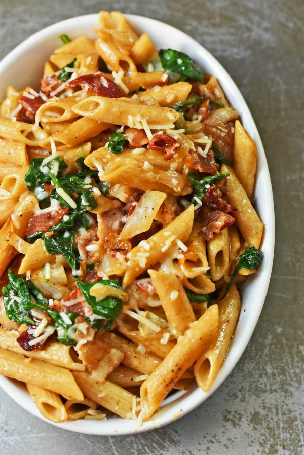 Bacon, Spinach, and Caramelized Onion Pasta