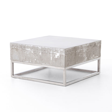 Concrete & Chrome Coffee Table by Four Hands Furniture
