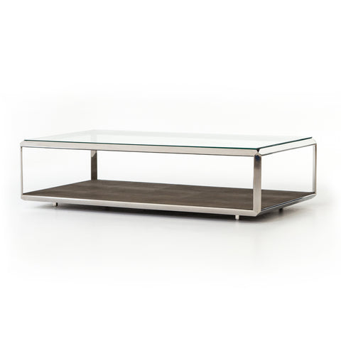Contemporary Shagreen Shadow Box Coffee Table in Stainless Steel by Four Hands