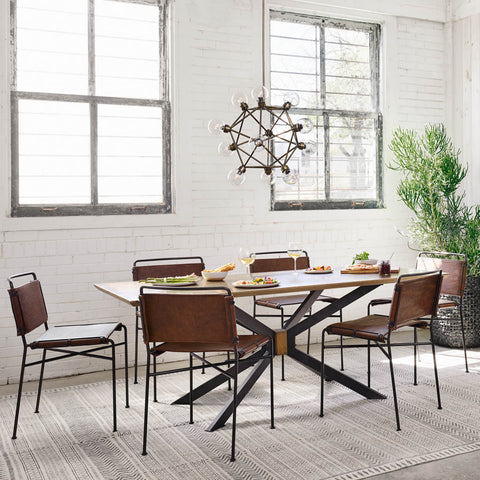 Wharton Dining Chairs Distressed Brown Leather