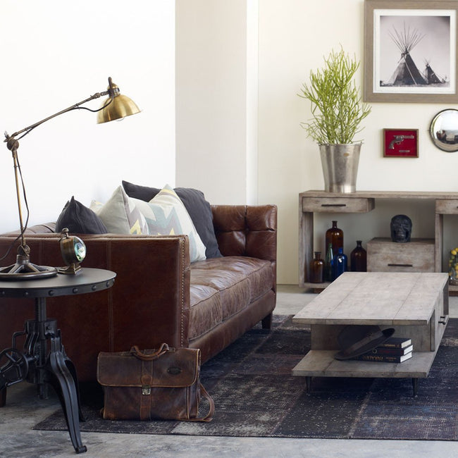 Abbot Brown Leather Sofa