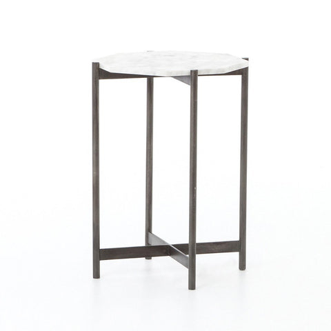 Concrete & Chrome End Table