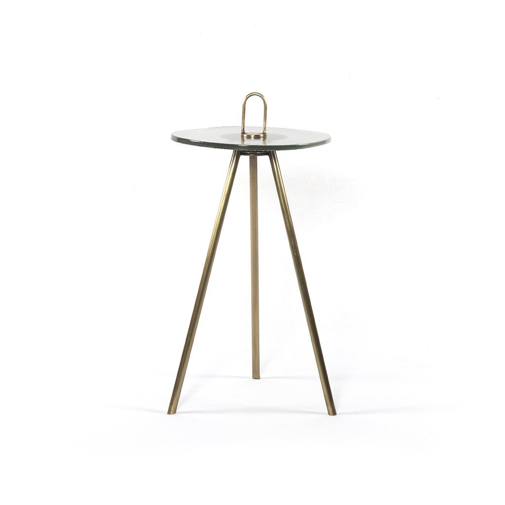 Alva Ribbed Glass Accent Table Four Hands INOL-020D
