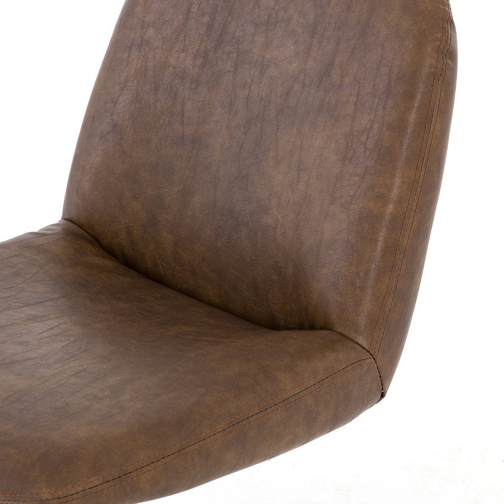 brown faux leather desk chair