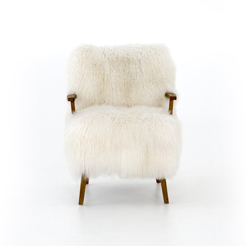 White fur chair