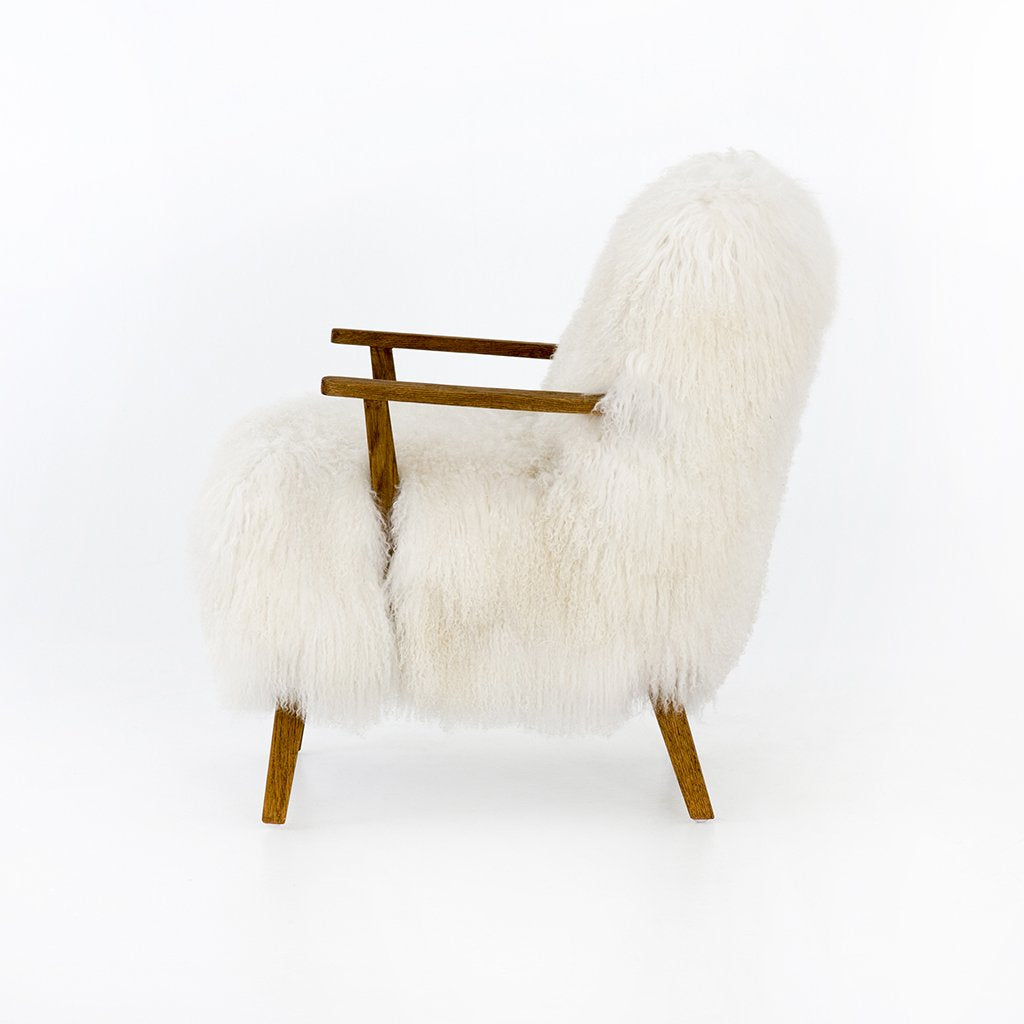 Ashland Arm Chair - Mongolian Cream Fur white