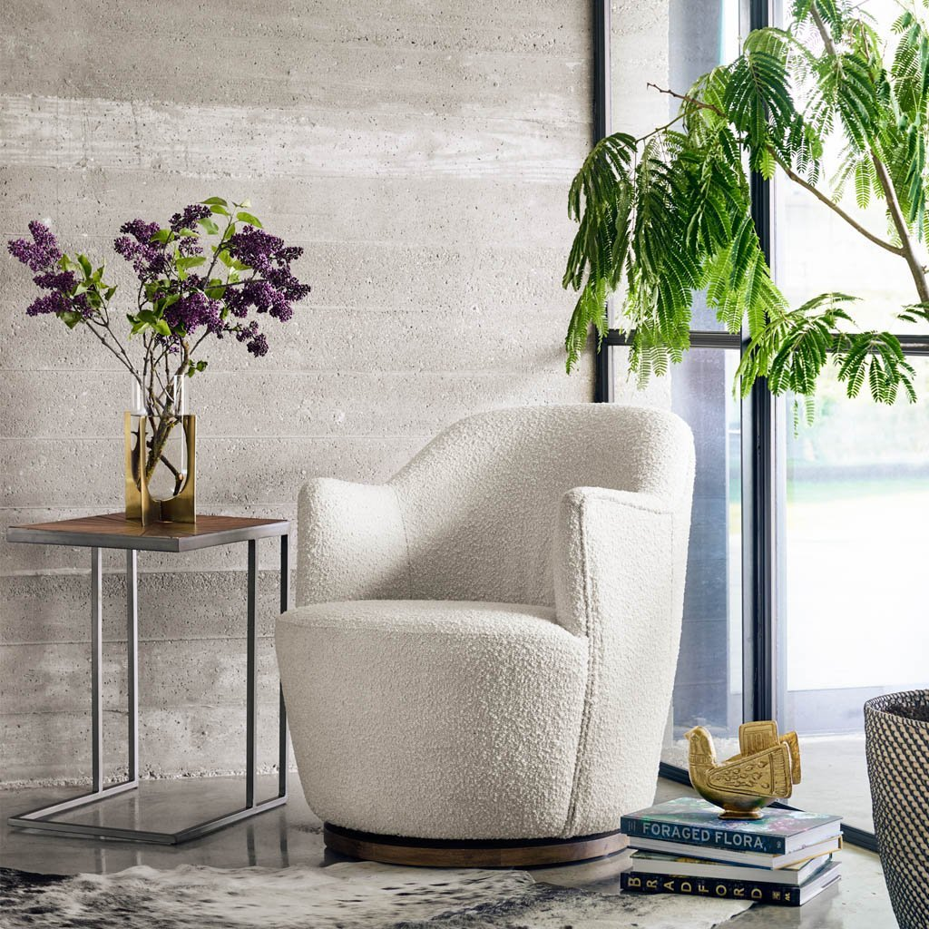 modern white accent chair