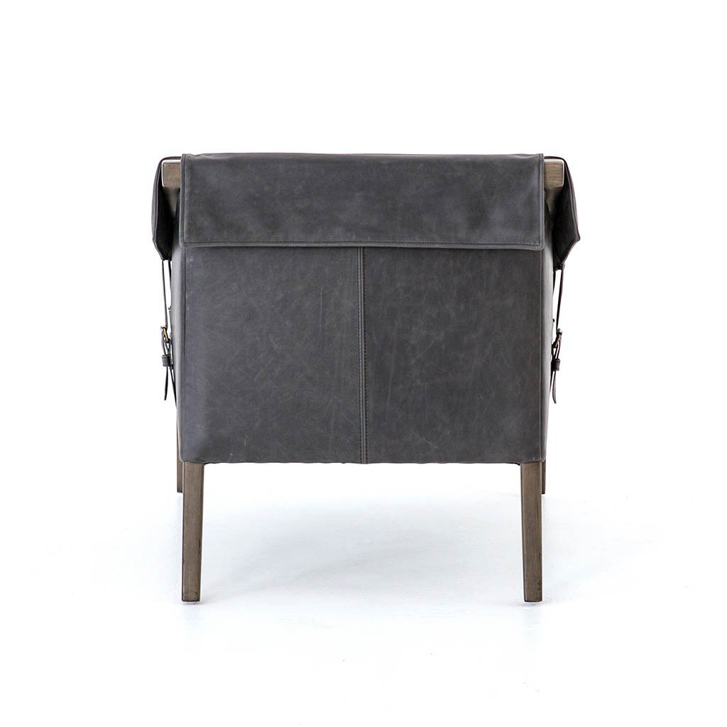 Black Leather chair with buckles