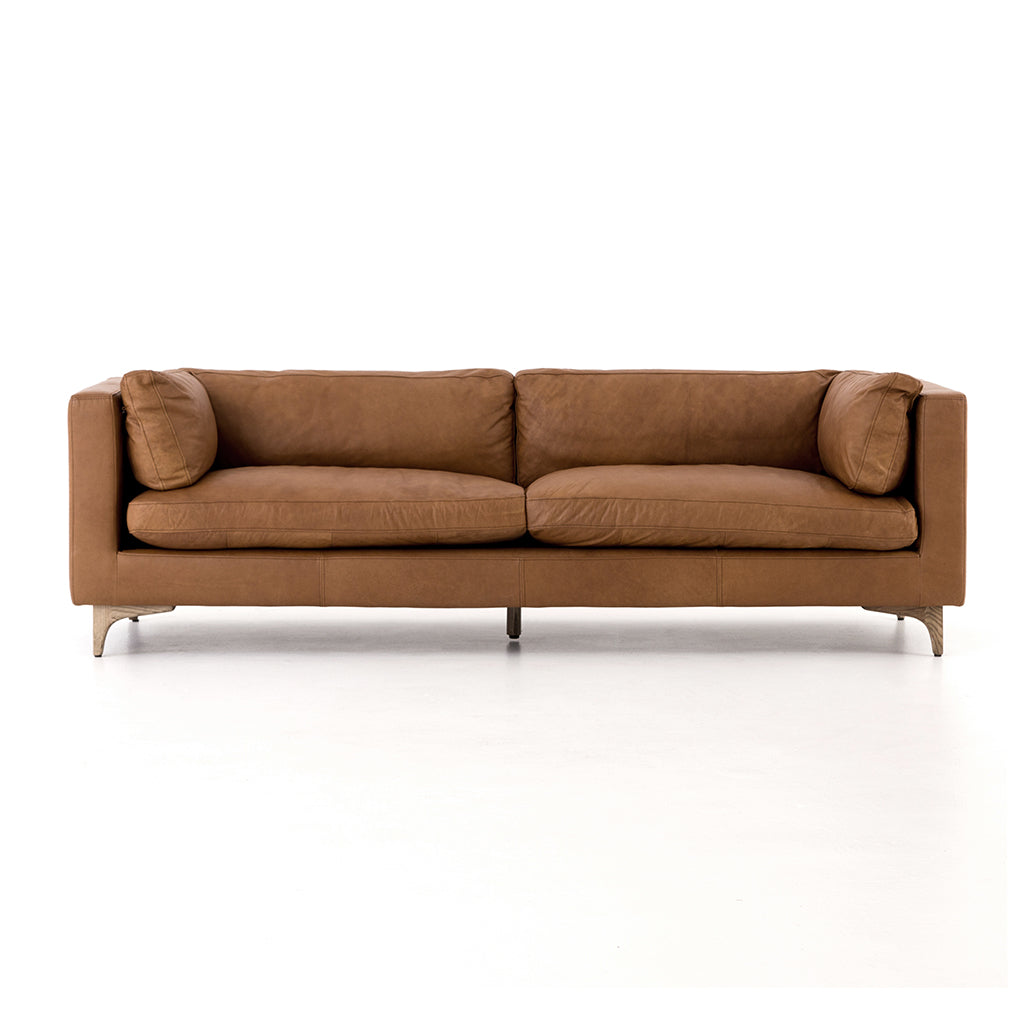 Light Brown Leather Beckwith Sofa - Naphina Camel Four Hands Furniture