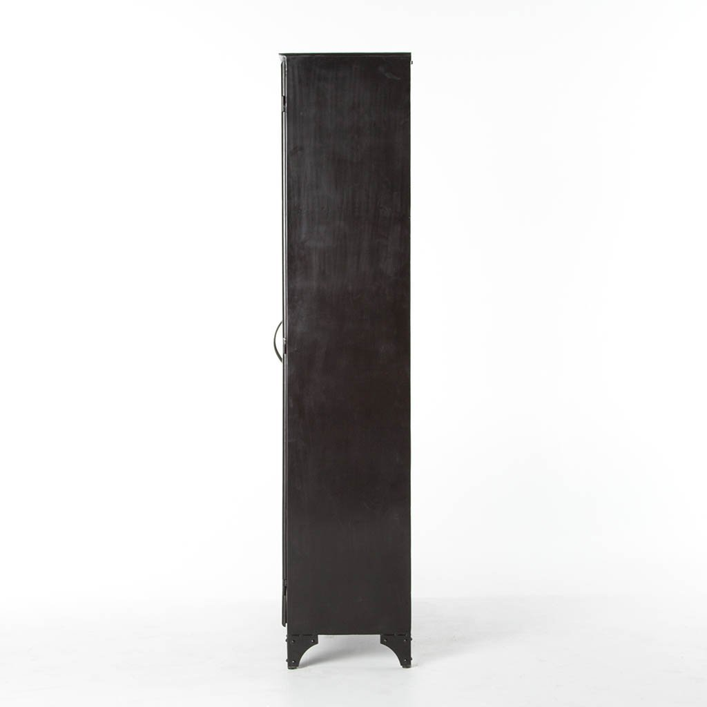 Large black and white glass cabinet
