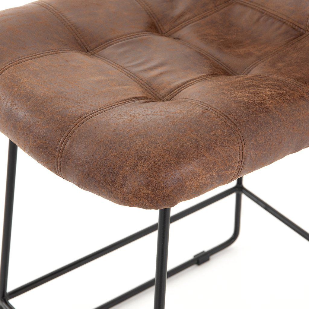 faux brown leather stool