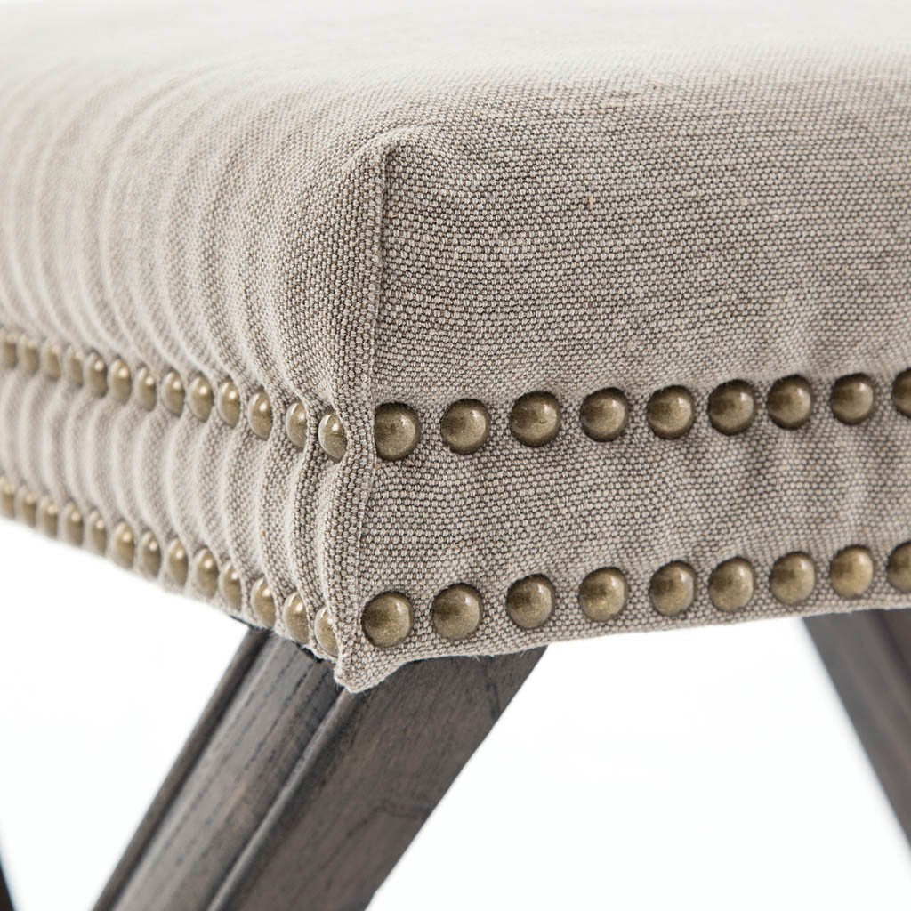 Four Hands Elyse Ottoman - Heathered Twill Stone