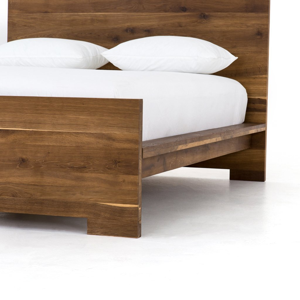 Oak wood slab bed