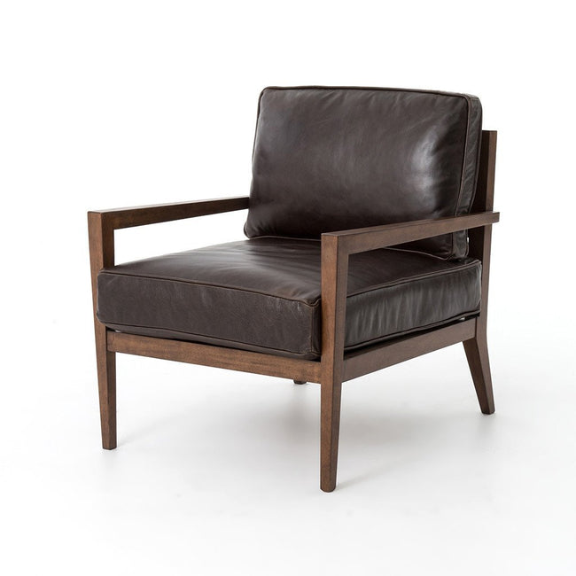 Four Hands Laurent Accent Chair - Dark Brown Leather