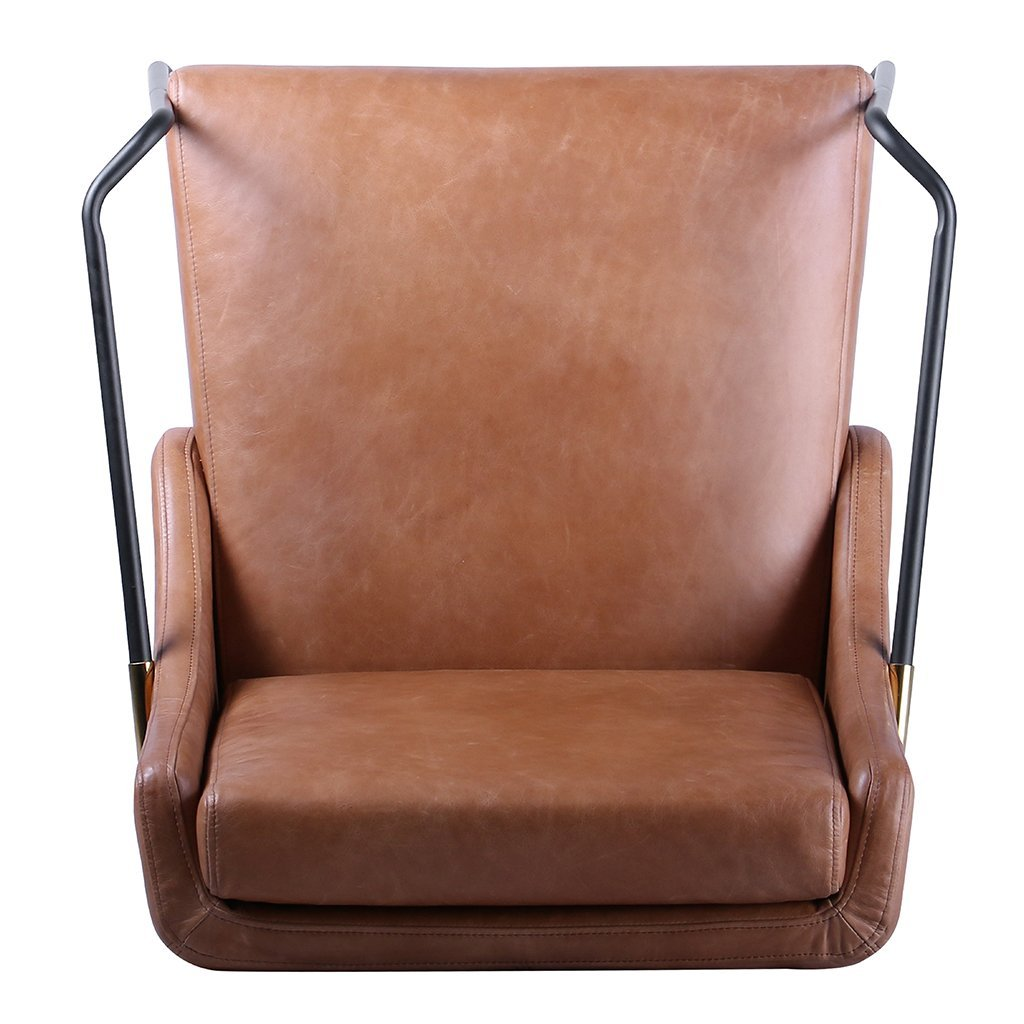 brown leather living room accent chair